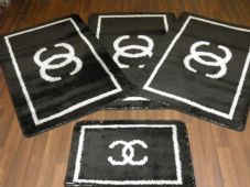Oblong Non Slip Washable Traveller/Gypsy Mat Set 4Pc Black / Silver More Colours Available (1)